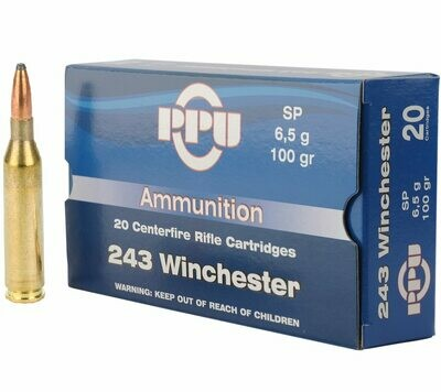 PPU (Prvi Partizan) .243 Winchester 100gr Soft Point 20/Box