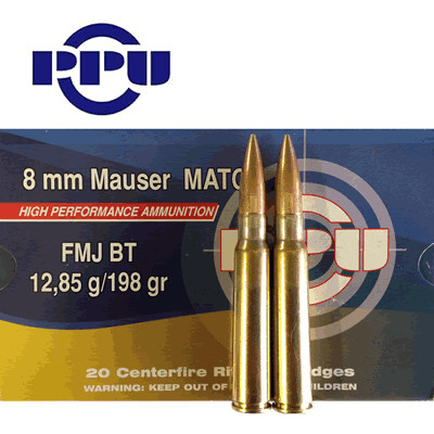 PPU 8mm Mauser FMJ BT Match 198gr Rifle Ammunition box of 20 rounds