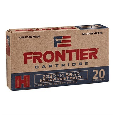 HORNADY - FRONTIER AMMO 223 REMINGTON 55GR HOLLOW POINT MATCH Box of 20 Rounds