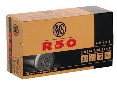 RWS R-50 Ammunition 22 Long Rifle 40 Grain Lead Round Nose Box of 50