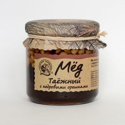 Мёд таёжный тёмный с кедровыми орехами 225г