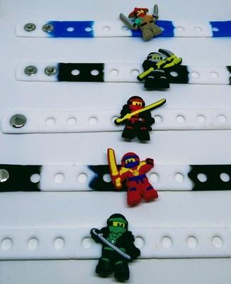 10 Braccialetti personalizzati Lego Ninjago in 3D gomma silicone pvc morbido gadgets fine festa a tema compleanno bambini