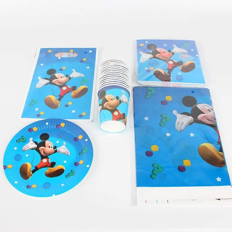 set tavola Topolino piatti bicchieri tovaglioli Tovaglia Festone bandierine addobbi decorazioni festa compleanno