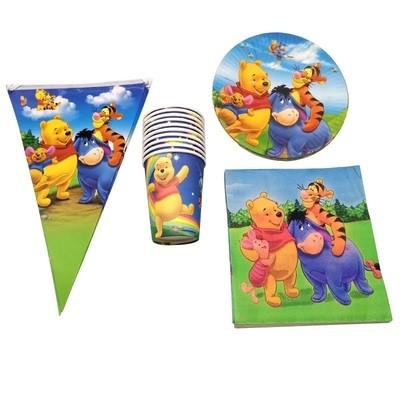 set tavola Winnie the Pooh piatti bicchieri tovaglioli Tovaglia Festone bandierine addobbi decorazioni festa compleanno
