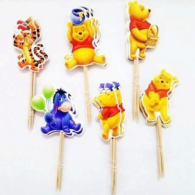 24 bandierine Winnie the Pooh decorazioni torte topper Plum cake statuine Tortini