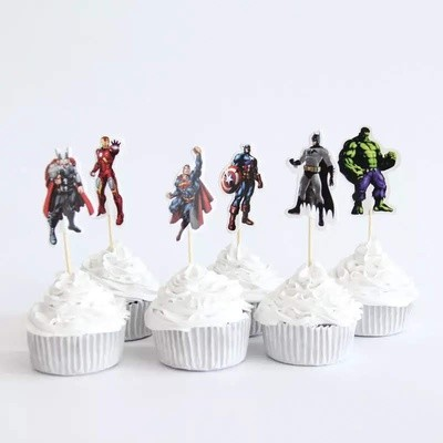 24 bandierine Avengers decorazioni torte topper Plum cake statuine Tortini