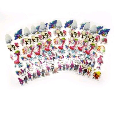 30 fogli stickers Adesivi Trolls Poppy e Branch