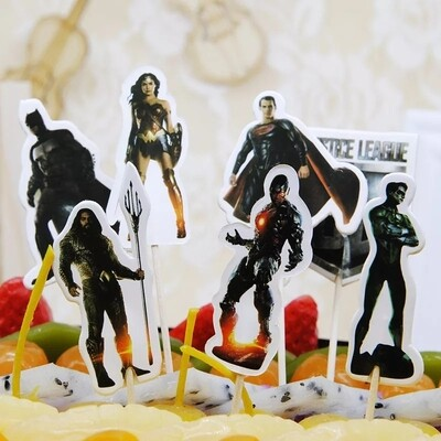 24 bandierine Justice League decorazioni torte topper Plum cake statuine Tortini