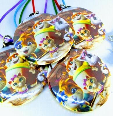 10 Collane 44 Gatti pendente rotondo 4cm in plastica Gadget a tema