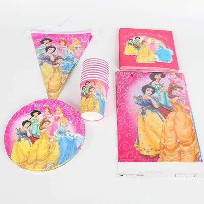 set tavola Principesse piatti bicchieri tovaglioli Tovaglia Festone bandierine addobbi decorazioni festa compleanno