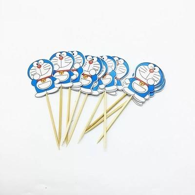 24 bandierine Doraemon decorazioni torte topper Plum cake statuine Tortini