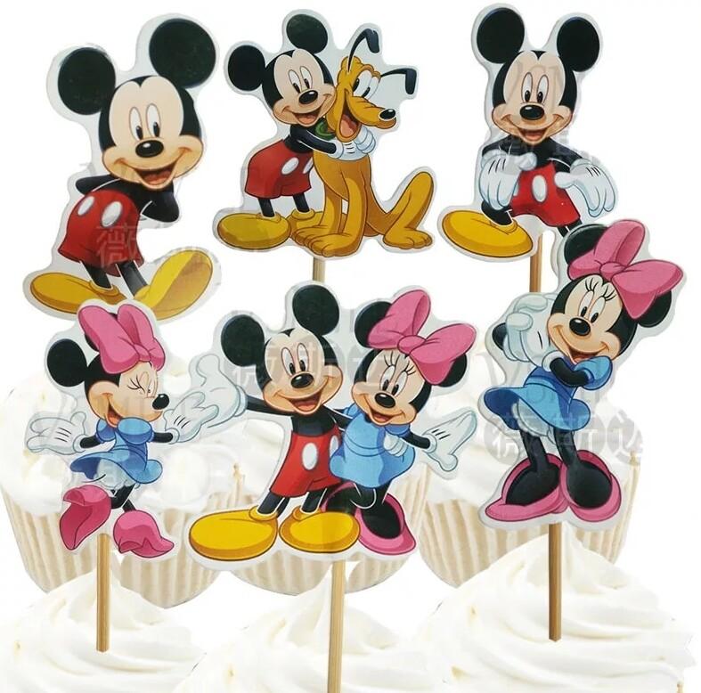 24 bandierine Topolino Minnie Disney decorazioni torte topper Plum cake statuine Tortini