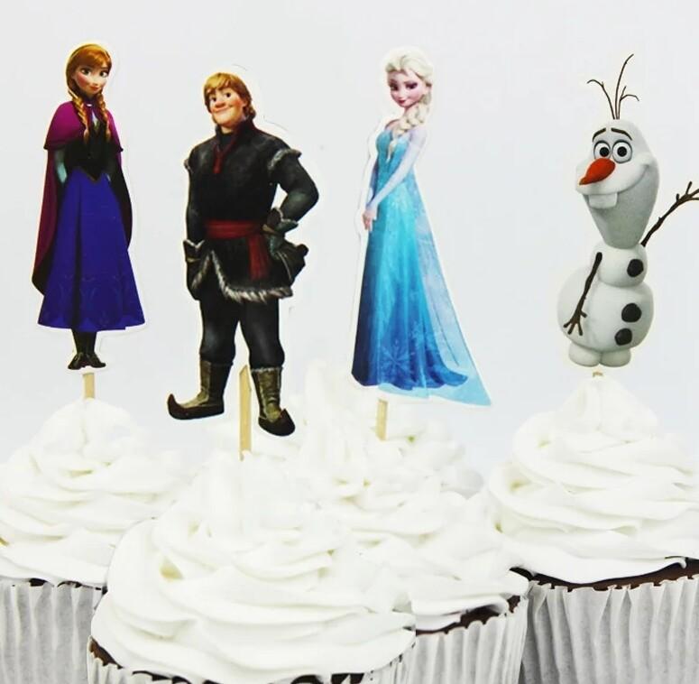 24 bandierine Principesse Anna Elsa decorazioni torte topper cake statuine
