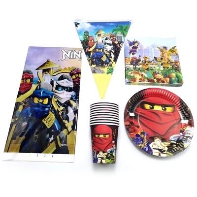 set tavola Lego Ninjago piatti bicchieri tovaglioli Tovaglia Festone bandierine addobbi decorazioni festa compleanno