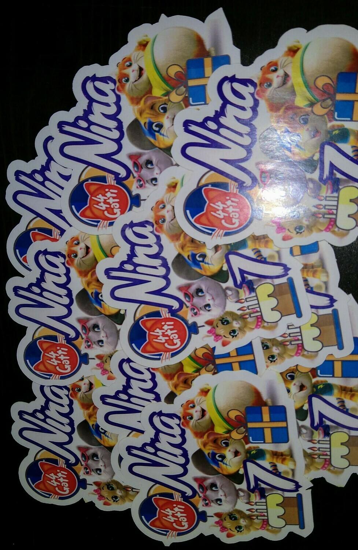 72 Adesivi Stickers 44 Gatti sagomati personalizzabili decorare festa a tema compleanno bambini