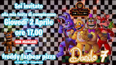 Biglietto invito digitale personalizzati fnaf freddy fazbear pizza festa compleanno bambini da inviare via whatsapp