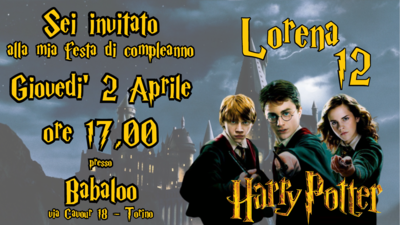 10 Biglietti Inviti cartacei personalizzati Harry Potter per feste di compleanno