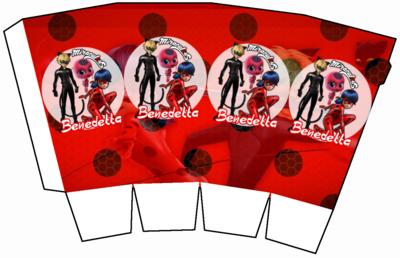 File digitale Scatolina Pop Corn Miraculous Ladybug box contenitore personalizzabile addobbi festa a tema fai da te