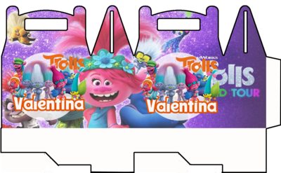 1 Scatolina Trolls personalizzabili Regalo porta Gadgets confetti Caramelle bomboniere
