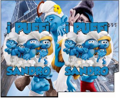 File Digitale Porta Tovaglioli e Posate personalizzati Puffi addobbi feste di compleanno