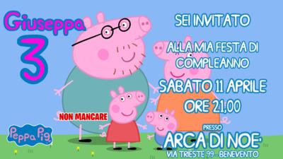 Biglietto invito digitale personalizzati Peppa Pig festa compleanno bambini a tema