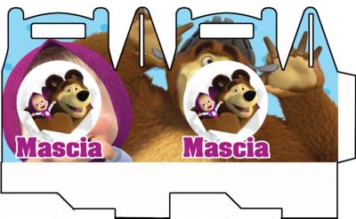 1 Scatolina Masha e Orso personalizzabili Regalo porta Gadgets confetti Caramelle bomboniere