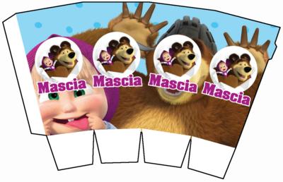 1 Scatolina Pop Corn Masha e Orso box contenitore personalizzabile addobbi festa a tema fai da te