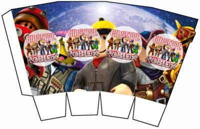 File digitale Scatolina Pop Corn Roblox box contenitore personalizzabile addobbi festa a tema fai da te