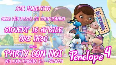 Biglietto invito digitale personalizzati Dottoressa Peluche festa compleanno bambini a tema