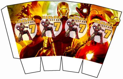 File digitale Scatolina Pop Corn Ironman box contenitore personalizzabile addobbi festa a tema fai da te