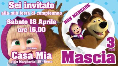 10 Biglietti Inviti cartacei personalizzati Masha e Orso per feste di compleanno