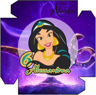 1 Piatto Jasmine Aladdin personalizzabili addobbi festa compleanno a tema
