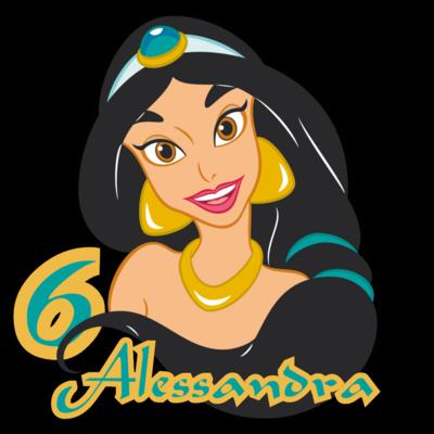 10 Adesivi Bicchieri Jasmine Aladdin sagomati personalizzabili decorare festa a tema compleanno bambini