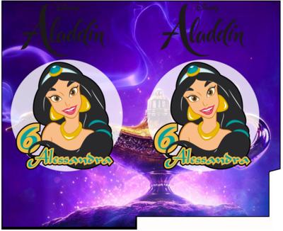 File Digitale Porta Tovaglioli e Posate personalizzati Jasmine Aladdin addobbi feste di compleanno
