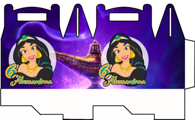 File digitale Scatoline Jasmine Aladdin personalizzabili Regalo porta Gadgets confetti Caramelle bomboniere