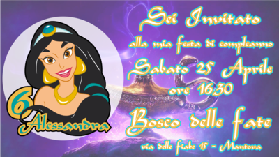 10 Biglietti inviti personalizzati festa compleanno bambini a tema Jasmine Aladdin