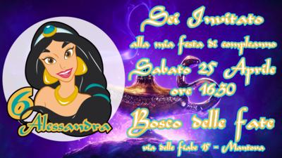Biglietto invito digitale personalizzati Jasmine Aladdin festa compleanno bambini a tema