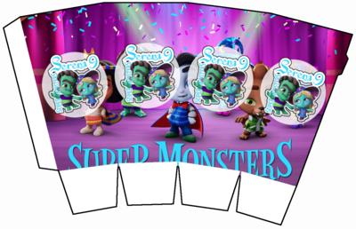 1 Scatolina Pop Corn Super Monsters box contenitore personalizzabile addobbi festa a tema fai da te