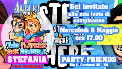 Biglietto invito digitale personalizzati Stef e Phere festa compleanno bambini a tema