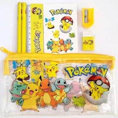 6 Astucci Tombolino scuola Pokemon matite gomma temperino righello block note