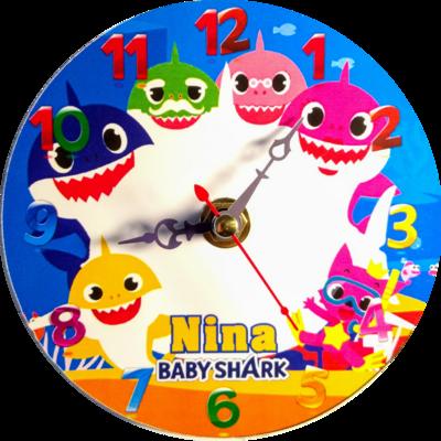 10 Orologi personalizzato su CD Baby Shark da muro