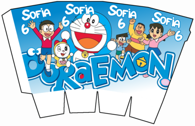1 Scatolina Pop Corn Doraemon box contenitore personalizzabile addobbi festa a tema fai da te