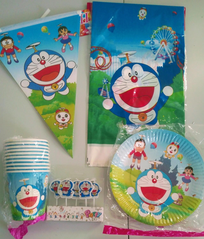 set tavola Doraemon Piatti Bicchieri Candeline Tovaglia Festone bandierine addobbi decorazioni festa compleanno