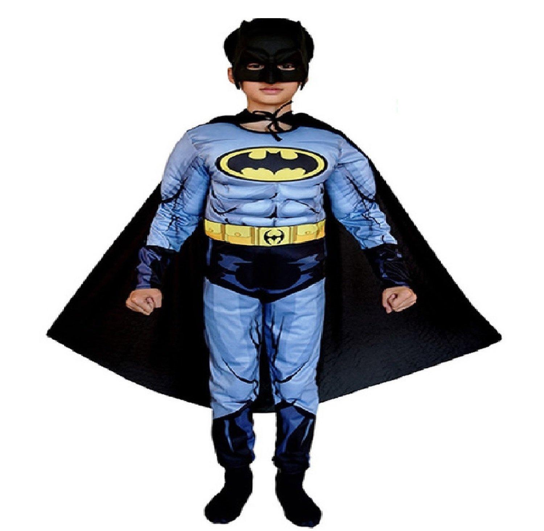 Costume con Muscoli Maschera Carnevale travestimento Batman supereroe personaggi Avengers Marvel