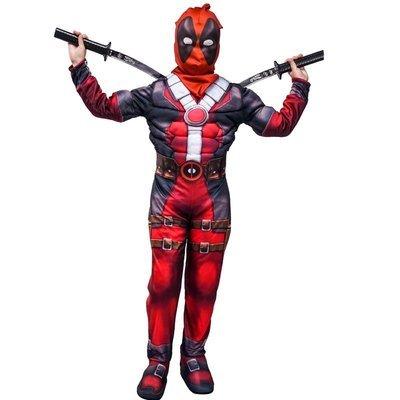 Dead Pool Costume imbottito con muscoli + cintura + maschera di Carnevale cosplay travestimento bambini