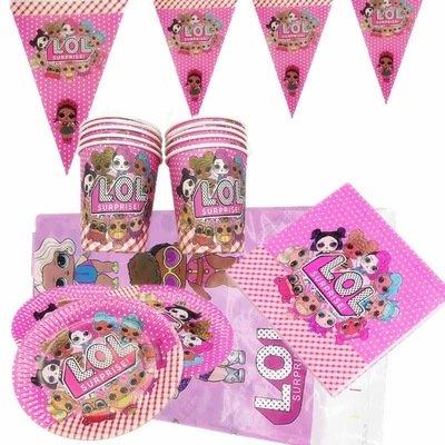 Coordinato tavola LoL Surprise piatti bicchieri tovaglioli Tovaglia Festone bandierine addobbi decorazioni festa compleanno