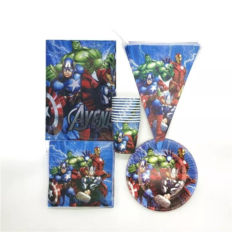 set tavola Avengers piatti bicchieri tovaglioli Tovaglia Festone bandierine addobbi decorazioni festa compleanno