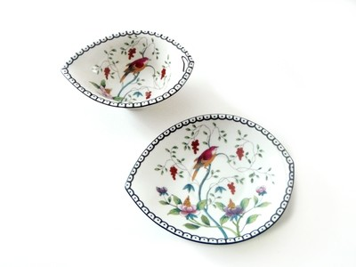 Nippon Sauce Boat Saucier or Gravy with Plate Hand Painted Flowers and Birds
