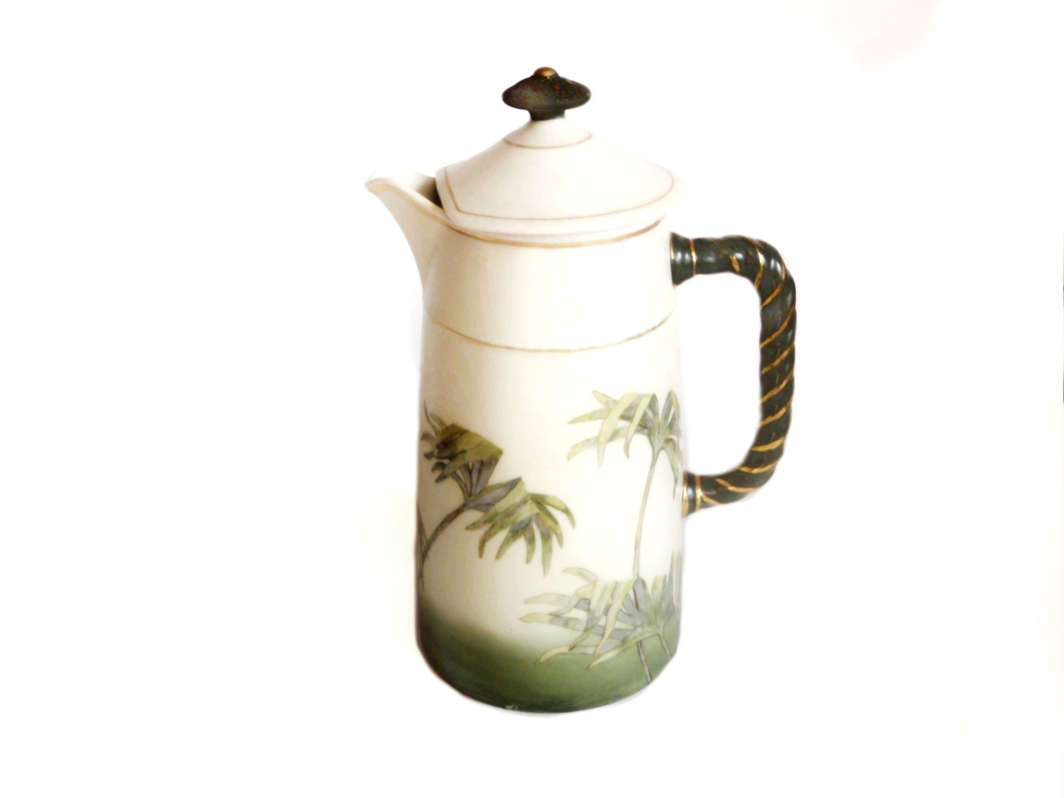 Antique Limoges Porcelain Palm Frond Pitcher - French Barware