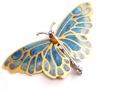 Kenneth J Lane Butterfly Plique a Jour 4 Inch KJL Pin